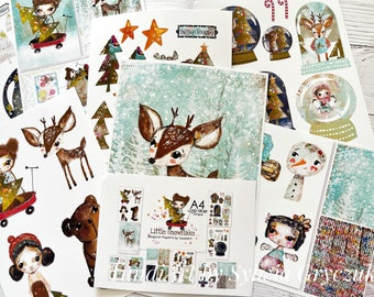 Little Snowflake magical papers , card making, stationary, journalling