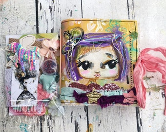 Little star-Reversable art journal kit with tags and stickers- gold fairy, hand made journal , mixed media, tandiart stationary