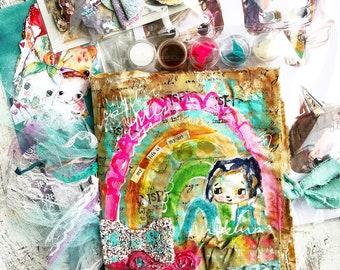 Vintage Rainbow- Vintage Handmade Art Journal made to order, art journal, mixed media, notebook