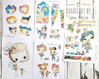 Fairy Art Pack/Collage sheets for cutting out vol 1, micrd media cards, art journaling cards, A4 collage papers , illustrations , fairy imag