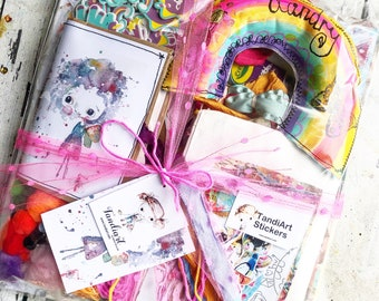 TandiArt Rainbow Creativity Surprise Box - art suppies ,TandiArt , box of goodies, stickes , collage sheets, art journal, stationary, mdf