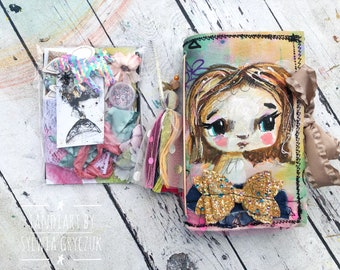 Goldi- Reversable art journal kit with tags and stickers- gold fairy, hand made journal , mixed media, tandiart stationary