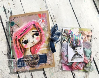 Pink-Reversable art journal kit with tags and stickers- gold fairy, hand made journal , mixed media, tandiart stationary