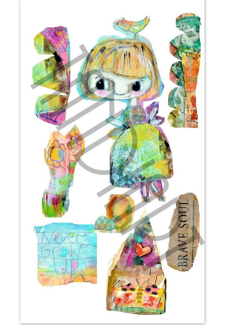 Rainbow girl2 digital stamp for papercraft scrapbooking art image 0