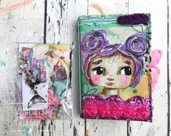 Purple- Reversable art journal kit with tags and stickers- gold fairy, hand made journal , mixed media, tandiart stationary