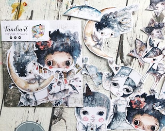 TandiArt Sticker Pack 09-Indigo fairy stickers, illustrations, planner stickers, butterflies, deer