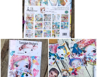 Creative Art Pack 4 including scrapbooking paper pack and stickers, mixed media, tandiart,