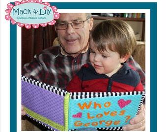 Soft book photo album pdf pattern, family grandparents fabric photo album pattern