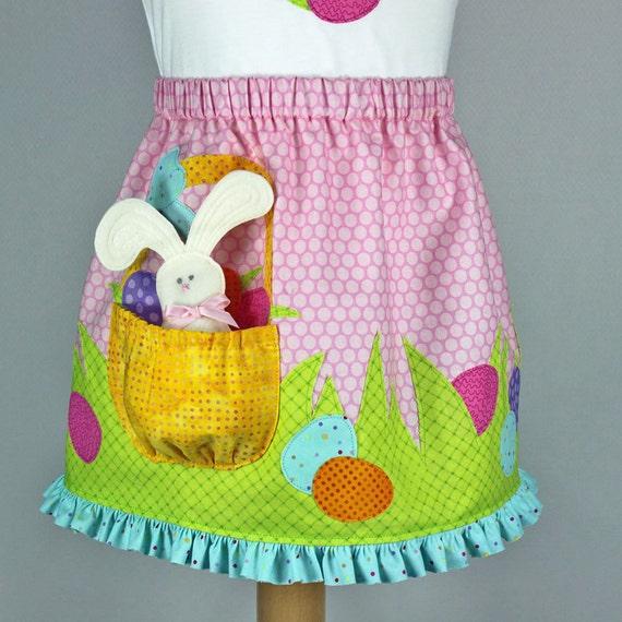 Easter Basket Pocket Girls Pdf Dress Pattern Easter Applique Etsy