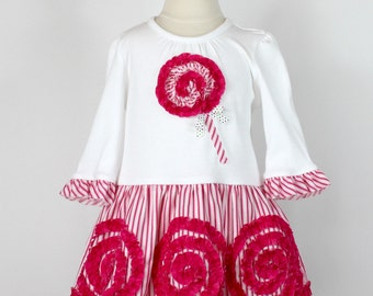 Girls Christmas dress pattern, Toddler Christmas dress pattern, pdf, ruffles, ruffled rosette lollipop SWIRLY Q