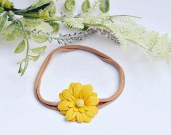 Yellow flower headband, yellow newborn headband, yellow flower, adult flower