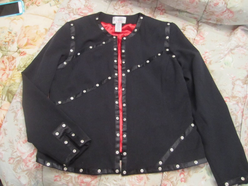 Art to Wear VICTOR COSTA Occasion BlackRed Lined Jacket Studded Size Small Hot MaMa Evening WearCareerCasual Unique