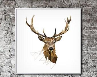 Large Art Print, Deer Print, Geometric Print, Deer Art, Deer Decor, Large Wall Art, Wall Decor, Woodland Wall Decor, Animal art