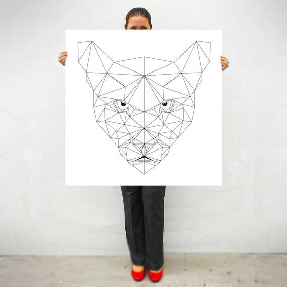 Extra grande impresión geométrico arte Puma Puma   Etsy