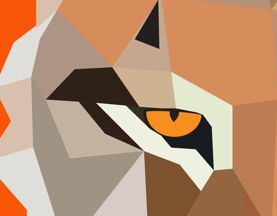 Bardzo Duży Druk Geometryczna Sztuka Bobcat Sztuka Etsy