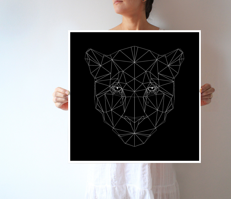 Arte Jaguar Extra grande impresión geométrico arte   Etsy