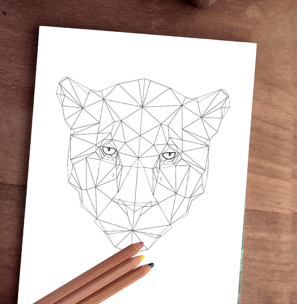 GRAN jaguar imprimible animal geométrico arte geométrico   Etsy