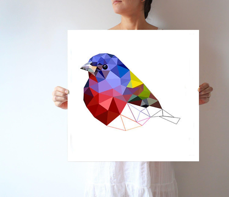 Cartel de arte Ave impresión geométrica arte de pájaros | Etsy