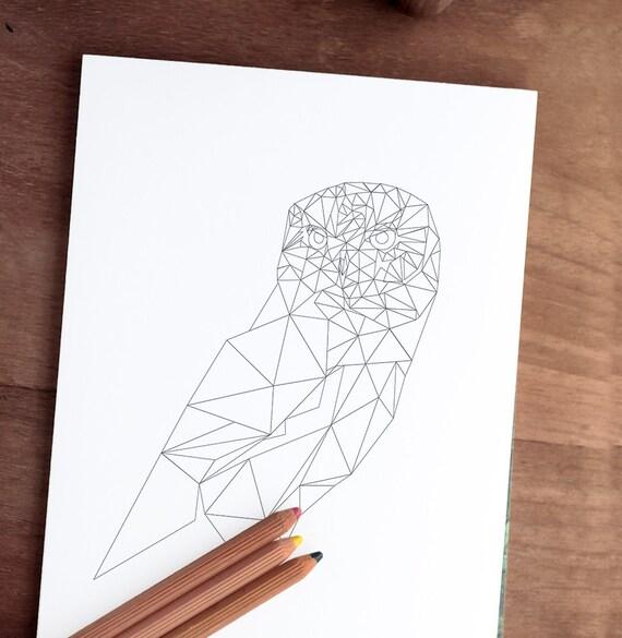 Buho página imprimible para colorear 8 x 10 jpg | Etsy