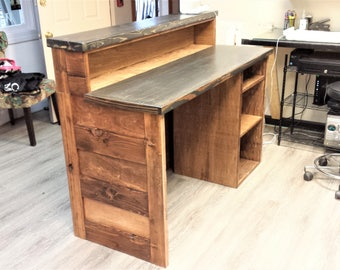 reclaimed wood reception desk counter reclaimed wood reception desk etsy