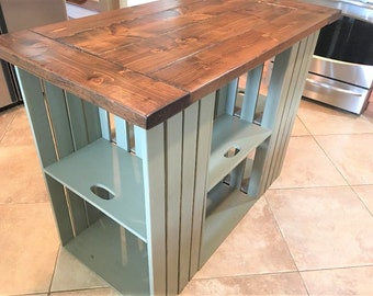 Kitchen Island, Reclaimed Wood, Farmhouse, Rustic, Country, Barnwood, Crate  Storage
