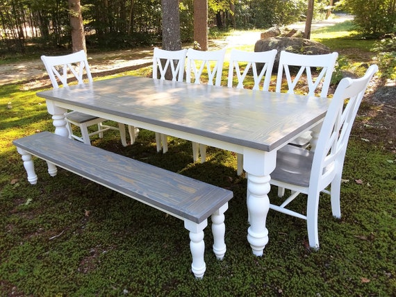 Dining Set Farmhouse Dining Table Bench And Chairs Etsy