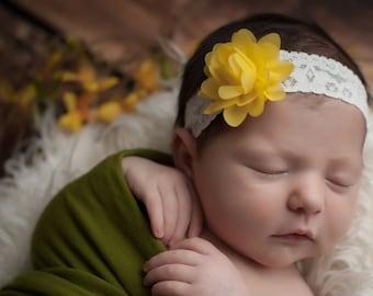 FREE SHIPPING! Yellow Baby Headband, Yellow Flower Headbands, Baby Headbands, Baby Girl Headband, Toddler Headbands, Infant Headband