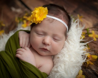 Yellow Baby Headbands, Yellow Headbands, Newborn Headbands, Yellow Flower Headband, Yellow Photo Props, Photography Prop