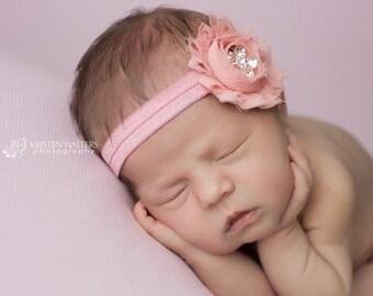 Pink Headbands, Baby Headbands, Newborn Headbands, Pink Flower Headband, Antique Pink Headband, Baby Headbands, Shabby Chic Headbands