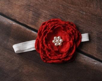 Red Newborn Headbands, Red Baby Headbands, Red Headbands, Baby Headbands, Baby Flower Headbands, Newborn Headbands