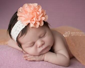 Peach Headbands, Peach Eyelet Headband, Peach Flower Headband, Peach Newborn Headbands, Newborn Headbands, Baby Headbands