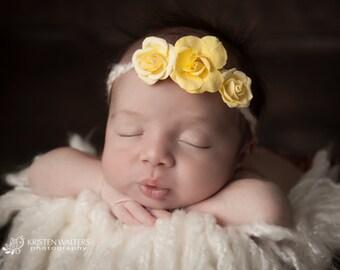 Yellow Tieback Headband, Yellow Newborn Headband, Yellow Headbands, Tieback Headbands, Newborn Headbands
