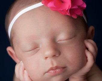 Hot Pink Headband, Hot Baby Headbands, Hot Pink Newborn Headband, Baby Girl Headband, Flower Headbands