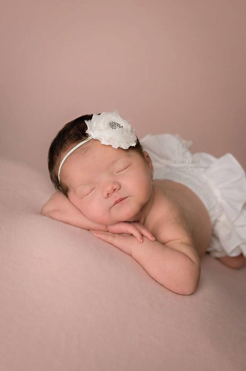 Ivory Shabby Headbands Ivory Flower Headband Ivory Baby Headband Ivory Flower Headbands Baby Headbands Newborn Headbands