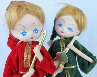 Vintage Mid Century Christmas Elf / Pixie Pair, Standing Soft Sculpture Musicians, Made in Japan, Red Green Velvet, 1950's 50's 1960's 60's