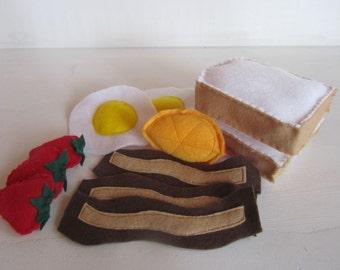 Felt Breakfast Set: Toast, Eggs, Bacon, Strawberries and Orange Slice