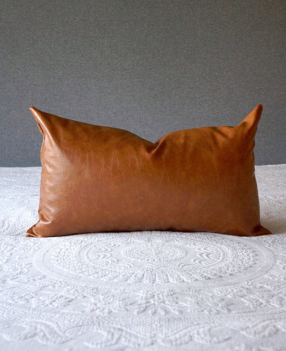 Cognac Faux Leather Lumbar Pillow Cover Brown 14x24 Inch Hygge Etsy