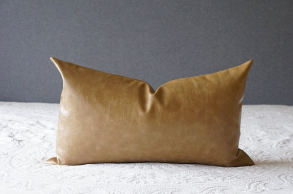 Faux Leather Oblong Throw Pillow Brown