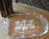 Vintage Original Walther Glass West German Butter Dish with Floral Design
