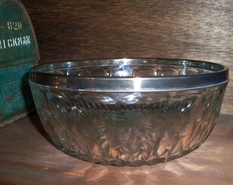 Vintage Lead Crystal Antique Bowl with Silverplate Rim