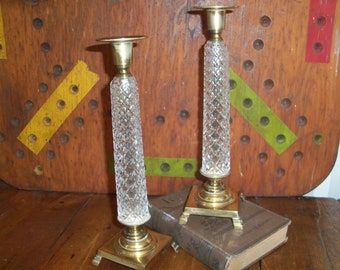 Rare Wilton Brass and Cut Glass Tall Candle Holders Pair Taper Marked W