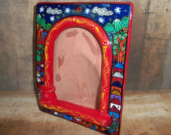"""Vintage Pottery Picture Frame Photo Photograph Mexico Handmade Red 5x7"""""""