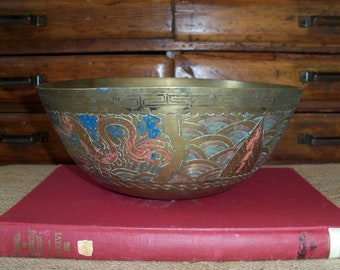 Vintage Large Brass Bowl Etched Colored Centerpiece China Handmade