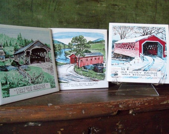 Set of 3 Vintage Ceramic Tiles Covered Bridges Vermont New Hampshire New England Wall Decor