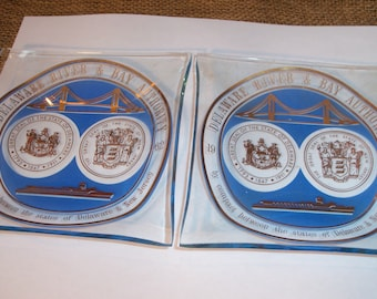 Vintage Pair of Glass Ashtrays Delaware River Bay Authority New Jersey Bridge Cigar Cigarette Smoking