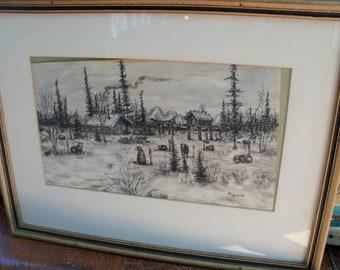 Vintage RARE 1930's George Ahgupuk Original Ink Drawing Signed on Caribou Skin Framed Eskimo Alaska Wilderness
