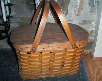 Vintage Woven Wicker Picnic Basket Large Display Storage Farmhouse Country Cottage
