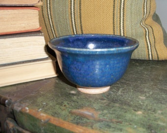 Vintage Handmade Blue Small Bowl Pottery