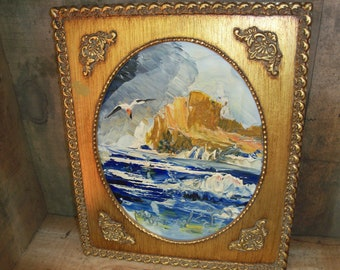Vintage Hand Painted High Texture Painting Framed Ocean Beach House Seagull