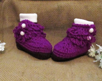 ea081268b2bf4 C9 3 to 6 Months Medium Pink Baby Girl Crochet Shoes